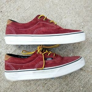 VANS Red Scotchgard Shoes Yellow Laces M-5.5 W-7
